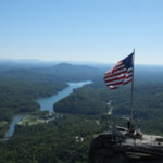 Looking down on Chimney Rock and to Lake Lure