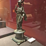 Statuette of Minerva - a Roman goddess who took many forms. In this case she is a warrior, though her lance in the left hand & a snake in the right are missing..